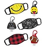 ABG Accessories Boys 3-Pack Kids Face Mask and Hand Sanitizer Holder Keychain (Flip Cap Reusable Empty Bottles) Age 3-7, Football Design
