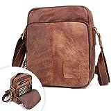 BAIGIO Unisex Leather Shoulder Bag Small Cross-body Handbag Brown Nubuck Leather