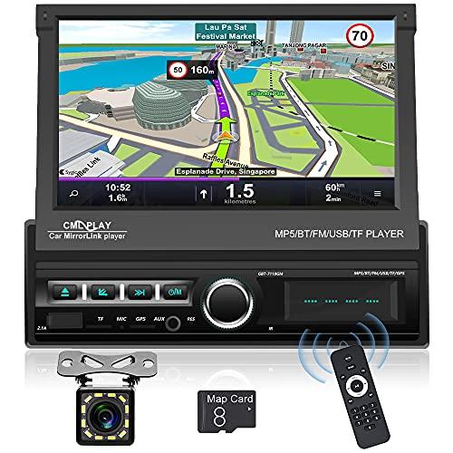 Hikity 1 DIN Autoradio Radio de Coche Navegador GPS 7   Desplegable Pantalla Táctil Coche FM Estéreo con Enlace de Espejo AUX-IN USB SD + Cámara de visión Trasera
