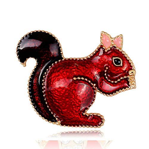 YONGHUI Leuke Emaille Eekhoorn Animal Broche Pins voor Vrouwen Jas Blouse Jurk Sjaal Sjaal Schauw Pins Badges Accessoires Sieraden Rode Kleur