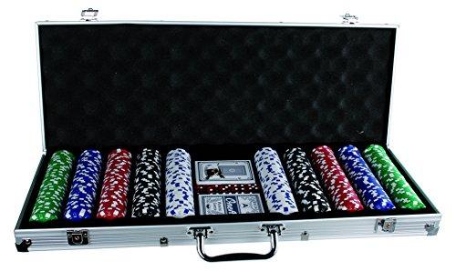 Out of the blue- Set da Poker in Valigetta di Alluminio con 5 Dadi, 2 Mazzi di Carte e 500 Fiche, 11.5 g, Multicolore, 79/3982