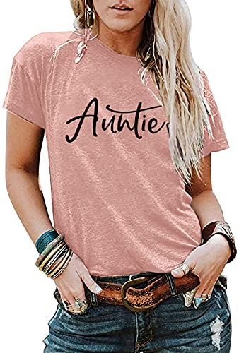 Auntie T Shirts Women Cute Aunt Gift Tee Shirts Funny Graphic Casual Short Sleeve Tee Top Pink