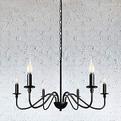 6-Light Black Farmhouse Chandelier Industrial Ceiling Pendant Lighting Fixture Hanging for Kitchen Dining Room Living Room Foyer