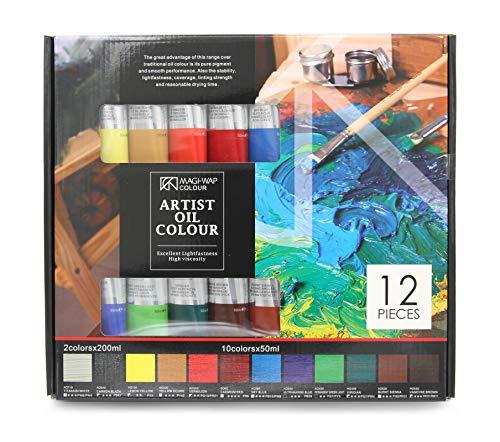 Magi Artist Ölfarben 10x50ml + 2x200ml, Set mit 12 Farbtönen feine Ölfarbe