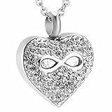 TIANZXS Crystal Heart Memorial Heart Eternity Ash Urn Collar Cremación Memorial Recuerdo Colgante Joyas Urna Locket