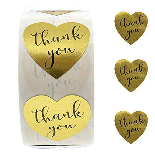 gotyou 500 Stück Gold Herzform Thank You Sufkleber,Handgemachte Aufkleber Label,Selbstklebender Aufkleber,Thank You Aufkleber,Backen-Etikett,Handgemacht Geschenk Dekor,DIY (Durchmesser 2.5cm)