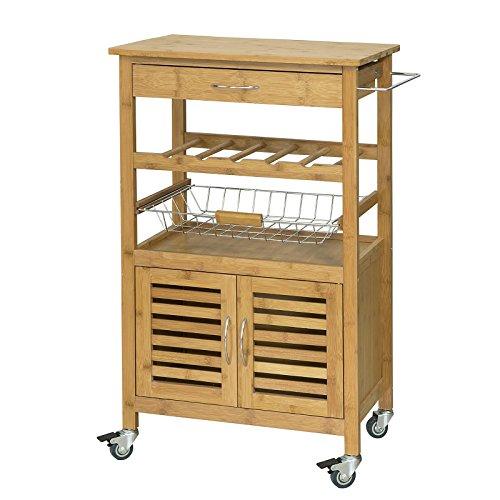 SoBuy® FKW53-N Servierwagen,Küchenwagen mit Korb und Flaschenablage BHT ca: 60x92x36cm