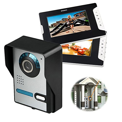 Sistema de intercomunicador con timbre de videoportero, interfono con 7 pulgadas, 2 monitores, 1 cámara para casa unifamiliar, cámara infrarroja TFT-LCD en color, visión nocturna, de bloqueo eléctrico