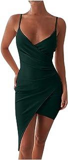 Women V-neck Sexy Mini Dress, Ladies Solid Off Shoulder Sleeveless Strap Split Bodycon Short Dress