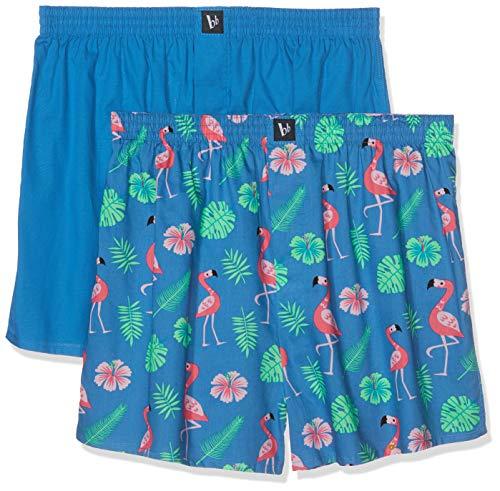 bruno banani Herren 2er Pack Cheerful Boxershorts, Mehrfarbig (Blau Flamingo Print//Blau 2638), Medium