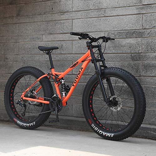 26 Zoll-Männer Fat Tire Mountain Bike, Strand Schnee Bikes, Doppelscheibenbremse Cruiser Fahrrad, Leichte High-Carbon Stahlrahmen, Aluminiumleichtmetallfelge (Color : Orange, Size : 24 Speed)