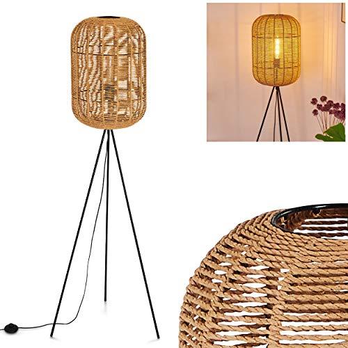 Stehlampe Krens, Stehleuchte aus Bast/Metall in Hellbraun/Schwarz, 1 x E27 max. 40 Watt, Höhe 150 cm, Vintage Stehbeleuchtung Retro style, verfügt über einen Fußschalter am Kabel, LED geeignet