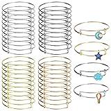 40 Pack Expandable Bangle Bracelets Adjustable Wire Bracelets Stainless Steel Women Blank Bracelet for DIY Jewelry Making,4 Colors