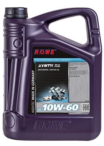 ROWE - 5 Liter HIGHTEC SYNTH RS SAE 10W-60 Motorenöl - PKW Motoröl für moderne und sportliche Pkw-Otto- oder Dieselmotoren, mit und ohne Turboaufladung