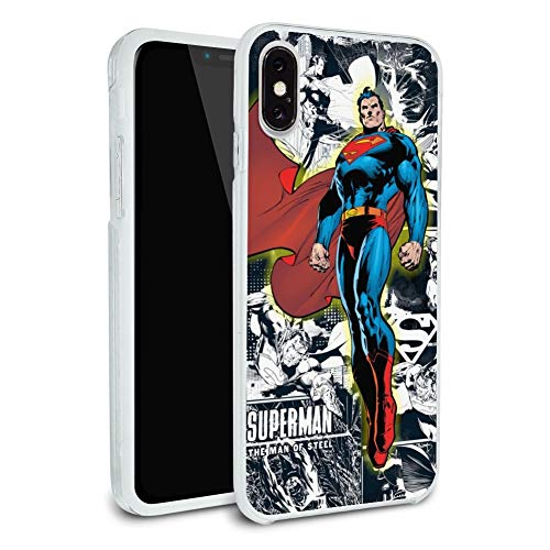Superman Glowing Aura Protective Slim Fit Hybrid Rubber Bumper Case Fits Apple iPhone 8, 8 Plus, X, 11, 11 Pro,11 Pro Max