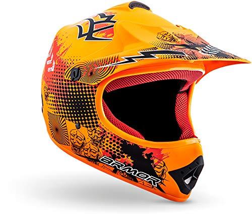 """armor HELMETS® AKC-49 """"Limited Orange"""" · Kinder Cross-Helm · Motorrad-Helm MX Cross-Helm MTB BMX Cross-Bike Downhill Off-Road Enduro-Helm Sport · DOT Schnellverschluss Tasche XS (51-52cm)"""