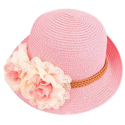 Carolilly Cappello di Spiaggia Bambina Cappello da Sole Bambina con Fiore Cappello di Paglia Bambina Elegante