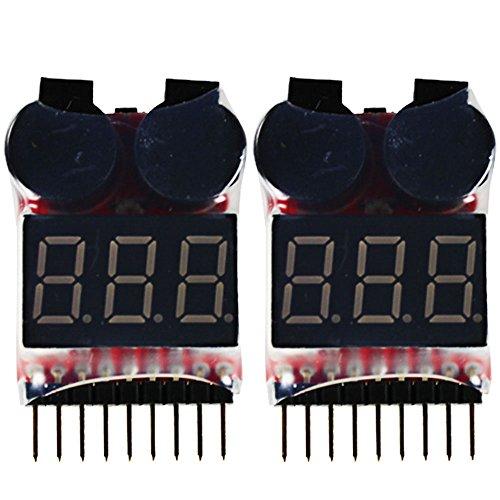 com-four® 2X Lipo Batterie Spannungs-Tester mit LED und Alarm bei Niederspannung für 1-8s für Lipo, Li-Ion, LiMn, Li-Fe Batterie - Spannungsanzeige und Niederspannungsalarm (02 Stück)