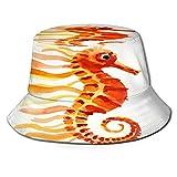 Sombrero de Pescador Unisex Colorido Acuario Naranja Amarillo Caballito de mar Acuarela Dibujo Animales Vida Silvestre Plegable De Sol/UV Gorra Protección para Playa Viaje Senderismo Camping