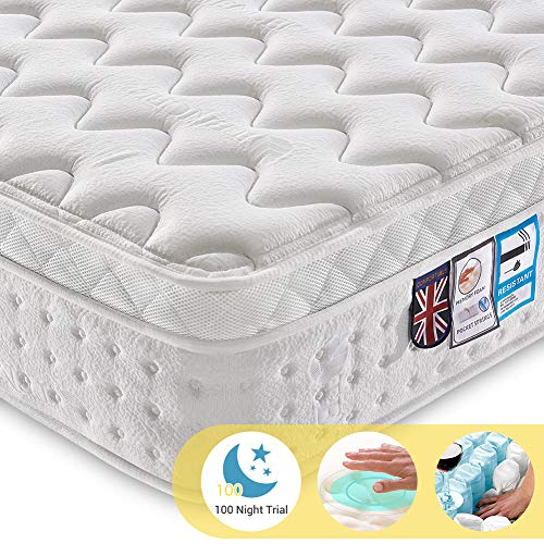 Ej. Life 4FT6 Double Pocket Sprung Mattress with Tencel Fabric - Multi-Functional 9-Zone Orthopaedic...