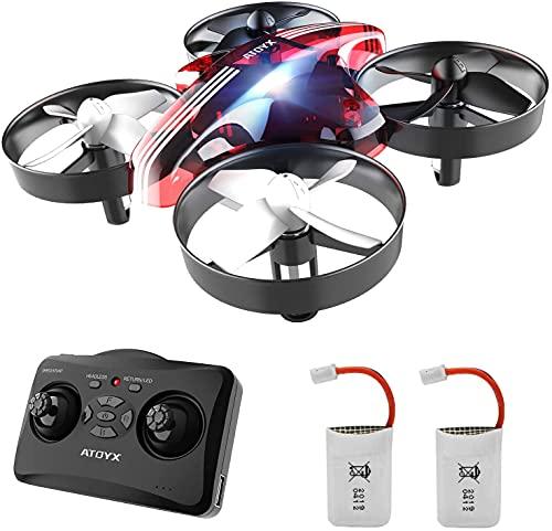 Mini Drohne für Kinder und Anfänger, RC Drone, Quadrocopter Mini Helikopter mit Höhehalten, Kopflos Modus, 3D Flips, EIN-Tasten-Rückkehr,, 2 Batteries (red)
