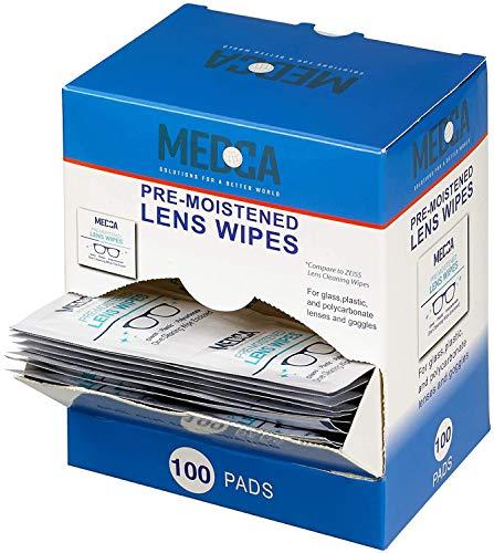 Toallitas húmedas para gafas - Limpiador portátil para gafas, cámara, teléfono móvil y tableta - desechable y de secado rápido - Envasado individualmente, paquete de 100 unidades.