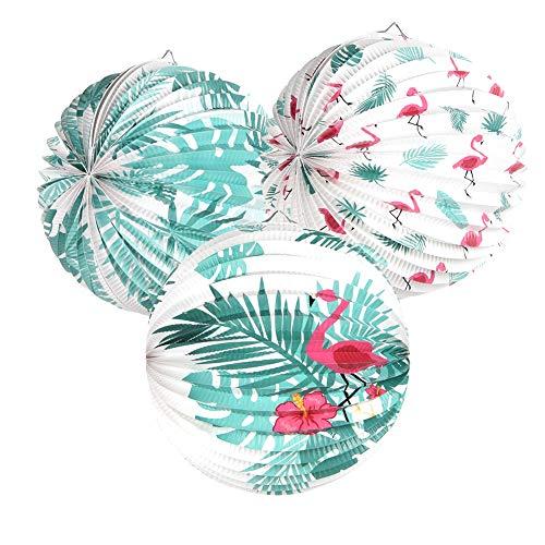 SUNBEAUTY 3er Flamingo Laternen Safari Dekoration Tropische Blätter Papierlaternen Sommerfest Deko für Hawaiian Luau Party (Mix)