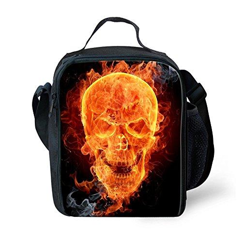 Bolsas de almuerzo con cremallera, diseño de animales en 3D, para niños, de la marca Nopersonality, poliéster, Fire Skull, small