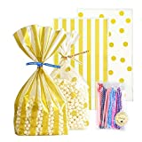 UUSHER Treat Bags with Ties, Gold Candy Favor Bags with 100 4 Inches Twist Ties Pretty Wrappings for Shower Birthday Wedding Gift Giving (Gold Striped and Polka Dot)