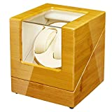 GEEBOX Expositor de relojes automático, 2 bobinas de reloj, motor silencioso de madera de bambú, 100% hecho a mano, doble vitrina para relojes de hombre y mujer