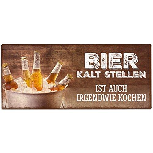 Deko Schild Blechschild Blechtafel Metallschild Retro Spruch Bier kalt 30,5x13cm