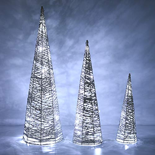 Lewondr Christmas Cone Tree LED Light, 3 Pieces Battery Powered Exquisite Decorative Light Glittering Xmas Tree for Indoor Outdoor Use Festival Decorations Home Décor (24'/18'/12') - Silver