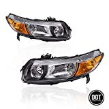 Replacement Headlights Assembly with Black Housing Amber Park Lens for 2006 2007 2008 2009 2010 2011 Honda Civic Coupe 2.0L OE Replacement for Driver and Passenger Side 33151SVBA01 33101SVBA02