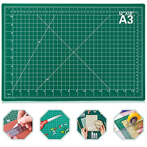 Self Healing Sewing Mat, Anezus 12  x 18  Rotary Cutting Mat Double Sided 5-Ply Craft Cutting Board for Sewing Crafts Hobby Fabric Precision Scrapbooking Project
