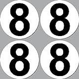 4 Stück Aufkleber Sticker Nummer 8 Startnummer 10cm...