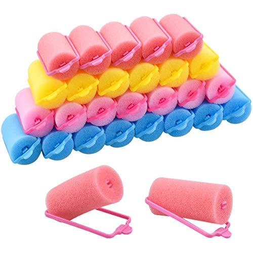 32 Piezas Rulos para el Pelo de Esponja, 30mm Espuma Suave Rodillos para Cabello, DIY Bigudíes de peluquería para Mujeres Muchachas y Niños, 4 Colores