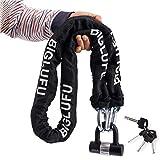 BIGLUFU Cerraduras de cadena para motocicleta con cerradura en U de 16 oz y 2 llaves ergonómicas, servicio pesado, cadena cuadrada de 15 mm / 0.6', ideal para generador, puertas, cercas