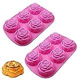 Silicona Flor Moldes, 2 Piezas Moldes de Jabón de Silicona de Flores, DIY Molde de Silicona Rosa, Molde de Jabón de Flores de Silicona, para Hacer Galletas de Pudín de Gelatina con Chocolate (Rosa)