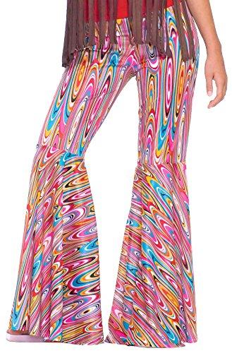Forum Novelties Women's Generation Hippie Wild Swirl Bell-Bottom Costume Pants, Multi, One Size