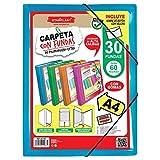CARPETAS DE FUNDAS A4 STARPLAST - Carpetas de plástico, archivador, portadocumentos, con cierre elástico, tamaño A4, para uso Escolar y de oficina - 30 fundas Azul