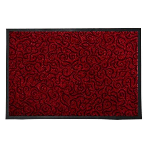 casa pura Schmutzfangmatte Brasil für den Eingangsbereich | mit Ornament | rutschfest & flach | rot | 3 Größen (90x150cm)