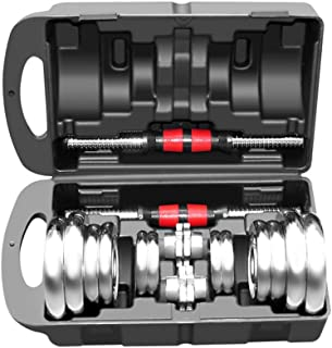 Adjustable Fitness Dumbbells Set, Free Weights Dumbbells with Connecting Rod & Black Protective Rubber Ring - Used As Barb...