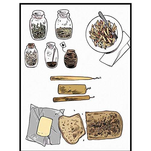 Brood Frans Fries Foods Canvas Schilderij Abstract Home Decoratie Posters en Prints Vintage Art Muurfoto voor Keuken Kamer 60x80cmx1 unframed