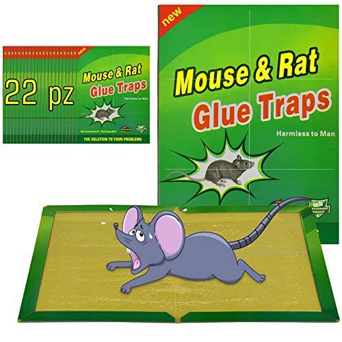 Colla per Topi Trappola per Topi, 22 pezzi Trappole per Topi Vischio per Topi Grandi Colla Topicida Trappola per Ratti [Confezione da 22]