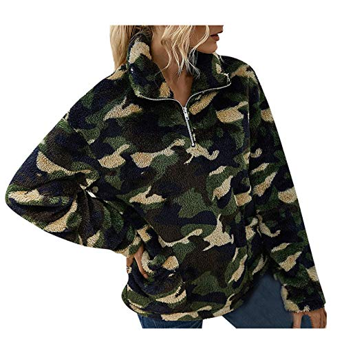 WYZTLNMA Women Sweatshirt Tops Autumn Winter Printed Plush Zipper Sweatshirt Pocket Clothes Pullover Ladies Warm Sweatershirts Green