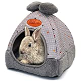 RANYPET Bunny Bed Warm Guinea Pig Cave Beds Cute Bowknot House Big Hideouts Cage Accessorie for Dwarf Rabbits Hamster Bunny Ferrets Rats Hedgehogs Chinchilla Grey