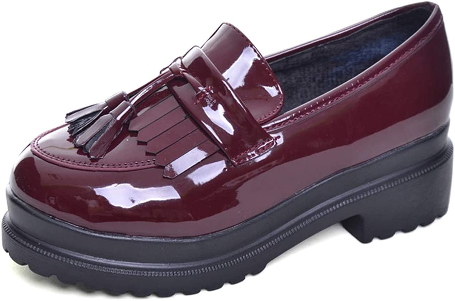 T-JULY New Women Oxfords British PU Patent Leather Platform Flats Spring Round Toe Slip-on Casual shoes