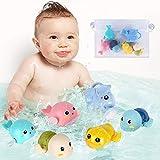 FAYOGOO Baby Bath Toys for 1-5 Year Old Boy Girls Gifts Swim Pool Bath Toys for Toddler 1-3 Bathtub Toys for Baby Boy Birthday Gifts for 1-4 Year Old Boys Girls with Multi-Use Toy Storage Bag, 6pcs