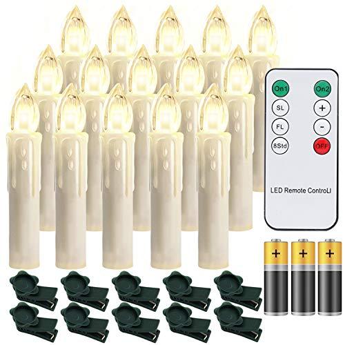 Hengda 30er LED Weihnachtskerzen mit Fernbedienung Timer Warmweiß Dimmbar Kerzen mit Batterien Weihnachtskerzen Christbaumkerzen Kabellos