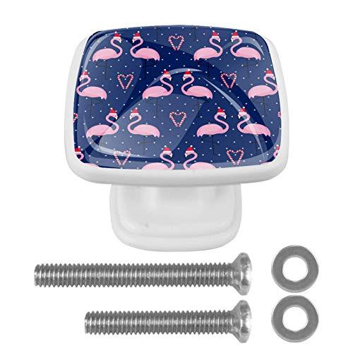 Perilla cuadrada de hardware de gabinete Blanco Flamenco rosado de Navidad Perillas de vidrio de colores para tocador con tornillos de montaje, 4 paquetes 3x2.1x2 cm